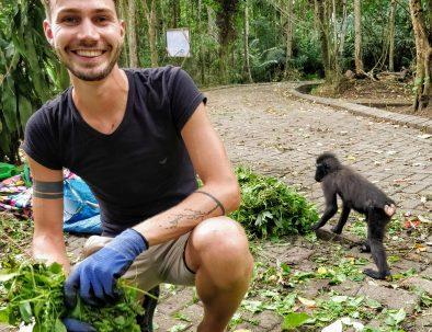 Djurräddningscenter på Sulawesi för djur från illegal handeln med exotiska djur
