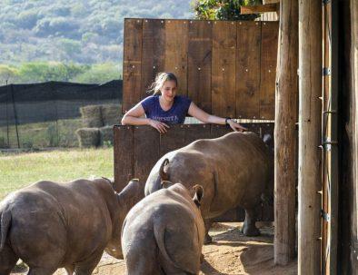 Räddningscenter för noshörningsungar i Sydafrika
