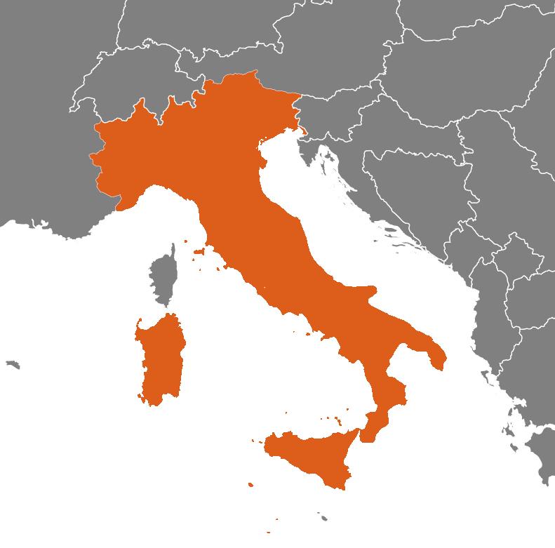 Italien på kartan